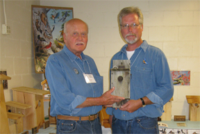 Steve and his father David with bluebird box made in 1977.
